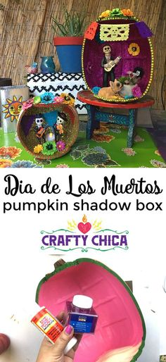 How to Turn a Foam Pumpkin Into a Día de los Muertos Shadow Box Day Of The Dead Diy, Mexico Day Of The Dead, Day Of The Dead Party, Halloween Crafts, Holiday Crafts, Halloween Decorations, Mexican Decorations, Cubicle Decorations, Yard Decorations