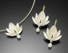 lotus with pearl drop pendant & earrings: silver: thea izzi: silver & pearl pendant & earrings - artful home