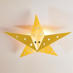 Rustic Tin Star Ceiling Light yellow