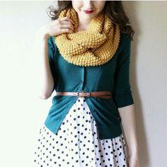 polka dot skirt, cardi and scarf - so cute for fall!