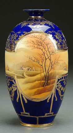 "Nippon__ PORCELAIN cobalt & scenic vase circa 1910 with hand-painted autumnal countryside scene. Blue ""Maple Leaf"" mark"