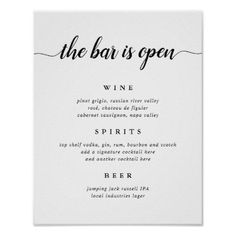 Black White Calligraphy Wedding Bar Menu Sign