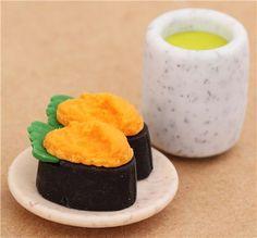 Sea Urchin Sushi Maki green Tea macha eraser from Japan by Iwako