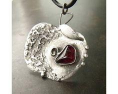 The Apple Rhodolite Garnet Gemstone Tiffany Soldered Pendant by AtelierQ, $27.00
