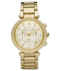 Michael Kors Watch, Women's Chronograph Parker Gold Ion Plated Stainless Steel Bracelet 39mm MK5354