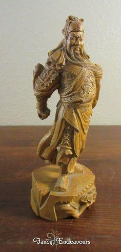 Vintage Chinese Guan Gong Warrior Statue Resin/Wood Look Carving #Unknown