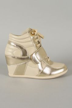 Refresh Wedge Sneakers Hidden Wedge Ankle Booties Velcro Metallic Gold e4299d2e5