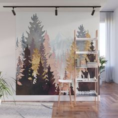 Wine Forest Wall Mural Decal by Spacefrogdesigns - X Bedroom Wall, Bedroom Decor, Wall Decor, White Sharpie, Forest Mural, Forest Painting, Wall Drawing, Mural Wall Art, Wall Design