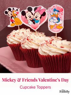 "Everyone will ""heart"" these Mickey & Friends Valentine's Day cupcake toppers. Go to Disney Family for the free printable, and create the easy craft!"