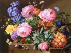 """Joseph Nigg - """"Blumen und Fruchte auf Marmorplinthe"""""""