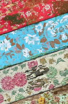distressed decoupage or painted boards or floor