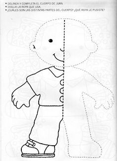 nice templete ~ felt book on dressing Preschool Writing, Preschool Learning Activities, Preschool Activities, Kids Learning, Art Worksheets, Kindergarten Worksheets, Body Parts Preschool, Visual Perception Activities, Art Drawings For Kids