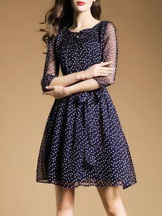 Dark Blue Polka Dots Work Buttoned V Neck Midi Dress