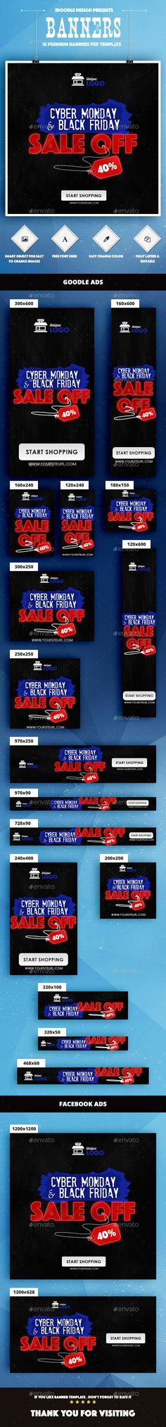 DESCRIPTION : Cyber Monday Banners Ad PSD Template is a clean and unique design so far using the latest trendy material design fo