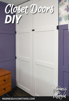 Want to create custom doors for your closet? These simple DIY closet doors can be customized how you like and can be installed on a track or with hinges. Closet Door Handles, Diy Closet Doors, Wallpaper Fix, Simple Diy, Easy Diy, Tall Cabinet Storage, Locker Storage, Painted Closet, Master Bedroom Makeover