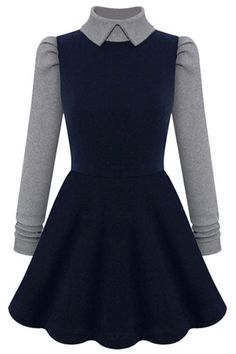 Paneled Long-Sleeves A-Line Knit Dress - OASAP.com  Free Shipping+$15 Coupon!