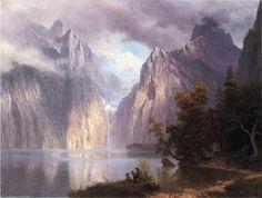 'Szene in der Sierra Nevada', öl auf leinwand von Albert Bierstadt (1830-1902…