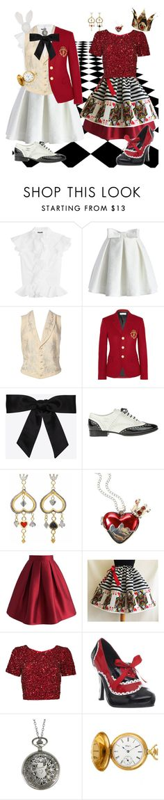 """""""Halloween Costume 5: AIW White Rabbit & Queen of Hearts"""" by daysis ❤ liked on Polyvore featuring Alexander McQueen, Chicwish, Yves Saint Laurent, Chanel, Sophie Harley London, Disney, Parker, Funtasma and Elgin"""