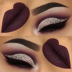 purple glitter cutcrease makeup with liquid lipstick eyeliner. - throp -Dark purple glitter cutcrease makeup with liquid lipstick eyeliner. Glitter Eye Makeup, Eyeshadow Makeup, Lip Makeup, Makeup Tips, Eyeshadows, Makeup Ideas, Eyeshadow Palette, Brown Eyeshadow, Fall Makeup