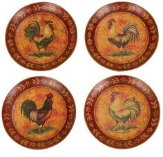 Ceramic Rooster Plates Wall Decor
