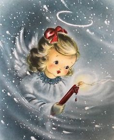 Pretty Blue Angel Candlelight Swirling Snow VTG Hallmark XMAS Card FRONT ONLY