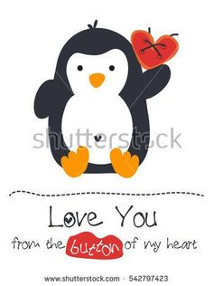 Little cute penguin and a red heart design / Baby penguin holding a red heart / Love you from the button/bottom of my heart vector stock / Word play funny card