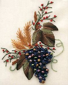 Grapes and Wheat (Brazilian embroidery, bead). Nordic needle