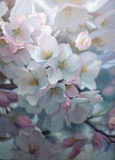 'Sweet Fragrance of April,' oil, Michael Godfrey Art Floral, Watercolor Flowers, Watercolor Paintings, White Flowers, Beautiful Flowers, Art Oil, Flower Art, Fine Art, Warrenton Virginia