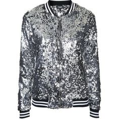 TOPSHOP **The Taylor Silver Seqiun Bomber Jacket by Jaded London