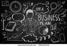 Business Idea doodles icons set. Vector illustration. isolated on blackboard background.
