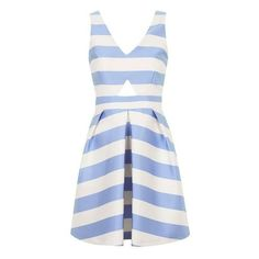 Topshop Stripe V-Neck Cutout Dress ❤ liked on Polyvore featuring dresses, swing skirt, striped sleeveless dress, white dress, white sleeveless dress and stripe dress