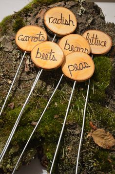 Garden Marker Stakes, herb or vegetable garden marker stakes, rustic,wood with…