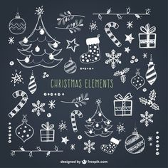 Christmas Elements Collection Premium Vector - All About Decoration Christmas Doodles, Christmas Art, Vector Christmas, Xmas, Christmas Christmas, Christmas Decorations, Chalkboard Doodles, Chalkboard Art, Christmas Origami
