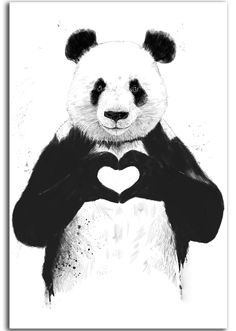 2016 free shipping Cuadros Decoracion Painting all_you_need_is_love, panda Home Decorative Art Picture Paint On Canvas Prints