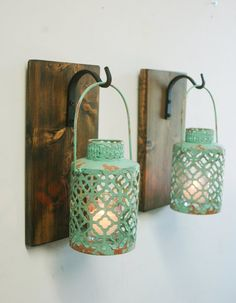 Farmhouse Style Turquoise Lantern Pair By PineknobsAndCrickets