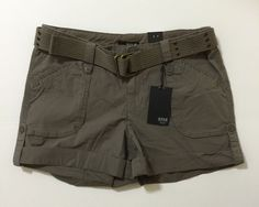 a.n.a. A New Approach Petite Women's Gray Belted Cuffed Shorts Size 14P NWT #ana #CasualShorts