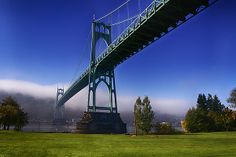 St. Johns' Bridge in Portland, OR.  A beautiful bridge made more interesting by the fog.