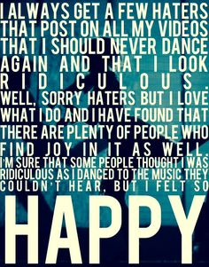 Lindsey Stirling. to sum up she is telling us to not care what others think do what makes you happy!