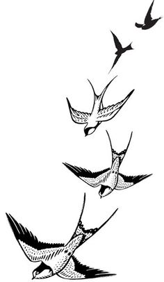Flying swallows  Temporary tattoo by WildLifeDream on Etsy