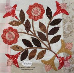 Winterwood Quilt Pattern BOM Block One - Sharon Keightley Quilts Owl Quilts, Applique Quilts, Patchwork Quilting, Quilting Projects, Quilting Designs, Quilting Patterns, Quilting Ideas, Flower Applique Patterns, Applique Ideas