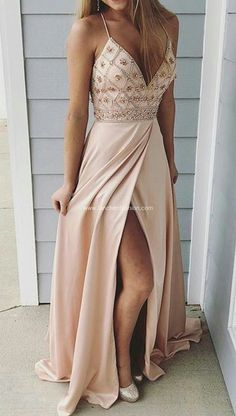 Spaghetti straps prom dresses,long prom dress, beaded prom gown,party dress with side slit Beige Prom Dresses, Pretty Prom Dresses, Gala Dresses, Prom Dresses Blue, Trendy Dresses, Homecoming Dresses, Evening Dresses, Formal Dresses, Formal Prom