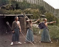 These Japanese archers circa 1860. The wonder of colourisation of old photographs lets us see these Samurai as if they were photographed yesterday. Amazing