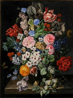 "Rachel Ruysch ""Still Life Flowers in Vase"" Ruysch was a Dutch artist who specialized in still-life paintings of flowers, one of only three significant women artists in Dutch Golden Age painting. Art Floral, Still Life Flowers, Parrot Tulips, Dutch Golden Age, Dutch Painters, Dutch Artists, Wooden Wall Art, Wood Wall, Flower Art"