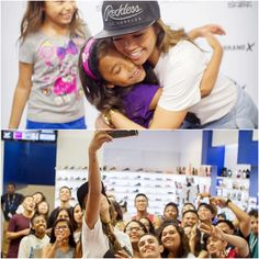 Liane V. hugs a fan at Shiekh Bakersfield during her meet and greet on Monday, April 27