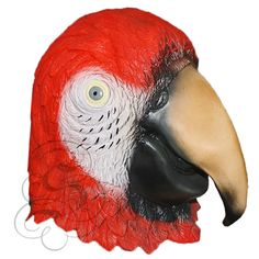 Latex Full Head Animal Red Parrot Bird High Quality Fancy Dress Carnival Masks