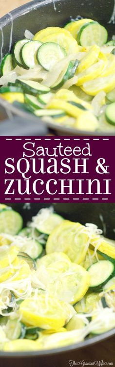 Sauteed Squash and Zucchini Recipe - an easy summer vegetable side dish recipe. A combination of summer squash, zucchini, sweet onions, and garlic, quickly sauteed together and topped with cheese for a fast and delicious summer side dish. This is one of my Summer favorites! It's even better when the sauteed squash and zucchini are fresh from the garden!