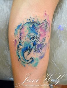 Watercolor + Sketch Elephant Tattoo. Tattooed by @javiwolfink www.facebook.com/javiwolfink
