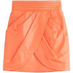 Balmain Leather Skirt (49.330 RUB) ❤ liked on Polyvore featuring skirts, mini skirts, bottoms, balmain, orange, orange skirt, draped skirt, fitted skirt, leather mini skirt and red leather mini skirt