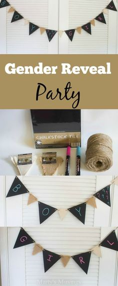 Heard the latest craze for expectant parents? A Baby Gender Reveal Party is fun way to find out whether it's a boy or girl and celebrate with family and friends. Marty's Musings shares just one project for the party with this easy chalkboard paper banner that can be erased and used for ANY occasion!
