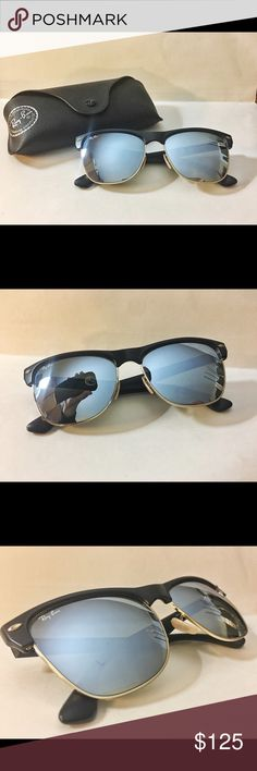 """Ray Ban Clubmaster Oversized Sunglasses """"Clubrmaster Oversized"""" Brand: Ray-Ban Model: Rb4175 877/30 3N Manufacturer: Italy Frame material: Nylon Frame color: Black Lense: Mirrored  Condition: I've never used them! Comes with its original case!  Reason for selling: I originally wanted them for myself but it had been over a year already and I hadn't used them so this year I was going to give them to my dad but he said he didn't want the mirrored frame so… here we are! Ray-Ban Accessories…"""